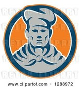 Vector Clip Art of Retro Male Chef in an Orange Navy Blue and White Circle by Patrimonio