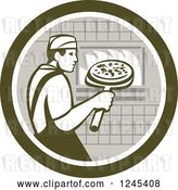 Vector Clip Art of Retro Male Chef Inserting a Pizza and Peel in a Brick Oven by Patrimonio