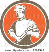 August 14th, 2018: Vector Clip Art of Retro Male Chef or Baker Holding a Rolling Pin in a Brown White and Orange Circle by Patrimonio