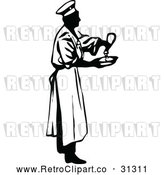 Vector Clip Art of Retro Male Chef Seasoning Food by Prawny Vintage
