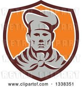 Vector Clip Art of Retro Male Chef Wearing a Toque and Uniform in a Brown White and Orange Shield by Patrimonio