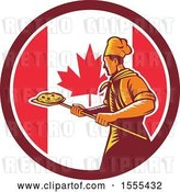 Vector Clip Art of Retro Male Chef with a Pizza on a Peel in a Canadian Flag Circle by Patrimonio
