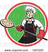 Vector Clip Art of Retro Male Chef with a Pizza on a Peel in a Red White and Green Circle by Patrimonio