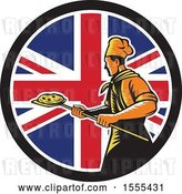 Vector Clip Art of Retro Male Chef with a Pizza on a Peel in a Union Jack Flag Circle by Patrimonio