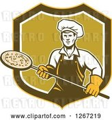 Vector Clip Art of Retro Male Chef with a Pizza on a Peel in a Yellow Brown White and Green Shield by Patrimonio