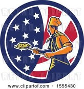 Vector Clip Art of Retro Male Chef with a Pizza on a Peel in an American Flag Circle by Patrimonio
