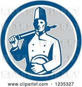 Vector Clip Art of Retro Male Chef with a Plate and Rolling Pin in a Gray White and Blue Circle by Patrimonio