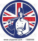 Vector Clip Art of Retro Male Chef with a Plate and Rolling Pin in a Union Jack Flag Circle by Patrimonio