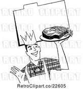 Vector Clip Art of Retro Male Chef with Steak over a Recipe Card by BestVector