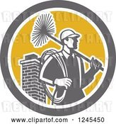 Vector Clip Art of Retro Male Chimney Sweep and Brick Chimney in a Circle by Patrimonio