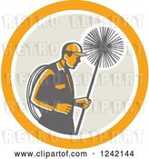Vector Clip Art of Retro Male Chimney Sweep in a Circle by Patrimonio