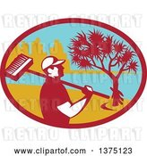 Vector Clip Art of Retro Male Cleaner Holding a Broom over His Shoulder, Inside an Oval with a Pandanus Tree and Coast by Patrimonio