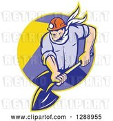 Vector Clip Art of Retro Male Coal Miner Digging with a Spade Shovel, with Light Shining from His Helmet, in a Yellow and Purple Circle by Patrimonio
