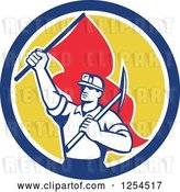 Vector Clip Art of Retro Male Coal Miner Holding a Pickaxe and Red Flag in a Circle by Patrimonio