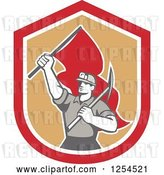 Vector Clip Art of Retro Male Coal Miner Holding a Pickaxe and Red Flag in a Shield by Patrimonio