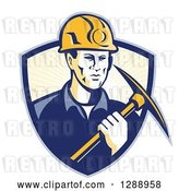 Vector Clip Art of Retro Male Coal Miner Holding a Pickaxe in a Blue and Pastel Yellow Sunshine Shield by Patrimonio