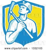 Vector Clip Art of Retro Male Coal Miner Holding a Pickaxe in a Blue White and Yellow Shield by Patrimonio