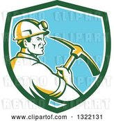 Vector Clip Art of Retro Male Coal Miner Holding a Pickaxe in a Green White and Blue Shield by Patrimonio
