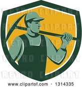 August 14th, 2018: Vector Clip Art of Retro Male Coal Miner Holding a Pickaxe in a Green White and Yellow Shield by Patrimonio