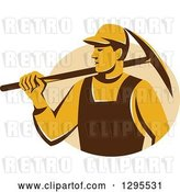 Vector Clip Art of Retro Male Coal Miner Holding a Pickaxe in a Tan Circle by Patrimonio