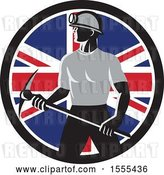 Vector Clip Art of Retro Male Coal Miner Holding a Pickaxe in a Union Jack Flag Circle by Patrimonio