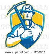 Vector Clip Art of Retro Male Coal Miner Holding a Pickaxe in a Yellow Blue and White Shield by Patrimonio