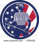 Vector Clip Art of Retro Male Coal Miner Holding a Pickaxe in an American Flag Circle by Patrimonio
