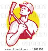 Vector Clip Art of Retro Male Coal Miner Holding a Pickaxe over His Shoulder in a Yellow Circle by Patrimonio