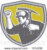 Vector Clip Art of Retro Male Coal Miner Holding up a Fist and a Pickaxe in a Gray White and Green Shield by Patrimonio