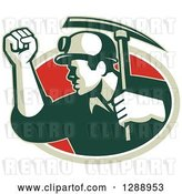 Vector Clip Art of Retro Male Coal Miner Holding up a Fist and a Pickaxe in a Green White and Red Oval by Patrimonio