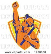 Vector Clip Art of Retro Male Coal Miner Holding up a Fist and a Pickaxe in a Yellow and Orange Shield by Patrimonio