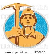 Vector Clip Art of Retro Male Coal Miner Holding up a Pickaxe in a Gray and Blue Circle of Sunshine by Patrimonio