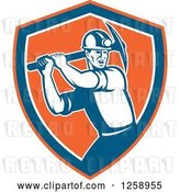 Vector Clip Art of Retro Male Coal Miner Swinging a Pickaxe in an Orange Blue and White Shield by Patrimonio