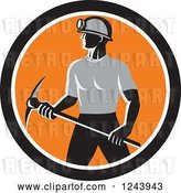 Vector Clip Art of Retro Male Coal Miner Worker with a Pickaxe in a Circle by Patrimonio