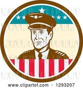 Vector Clip Art of Retro Male Commercial Aircraft Pilot in a Brown White and American Themed Circle by Patrimonio