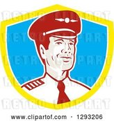 Vector Clip Art of Retro Male Commercial Aircraft Pilot in a Yellow White and Blue Shield by Patrimonio