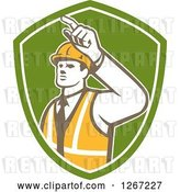 Vector Clip Art of Retro Male Construction Builder Foreman Pointing in a Green and White Shield by Patrimonio