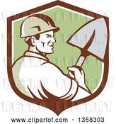 Vector Clip Art of Retro Male Construction Worker Builder Holding a Shovel in a Brown White and Green Shield by Patrimonio