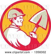 Vector Clip Art of Retro Male Construction Worker Builder Holding a Shovel in a Red and Yellow Circle by Patrimonio