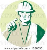 Vector Clip Art of Retro Male Construction Worker Builder Pointing Outwards in a Pastel Green Circle by Patrimonio