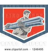 Vector Clip Art of Retro Male Construction Worker Carrying a Beam in a Shield by Patrimonio