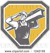 Vector Clip Art of Retro Male Construction Worker Carrying a Beam over a Shield by Patrimonio