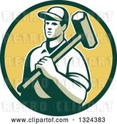 Vector Clip Art of Retro Male Construction Worker Carrying a Sledgehammer in a Green and Yellow Circle by Patrimonio