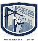 Vector Clip Art of Retro Male Construction Worker Climbing Scaffolding in a Shield by Patrimonio