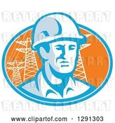 Vector Clip Art of Retro Male Construction Worker Emerging from an Orange and Blue Oval with Pylons by Patrimonio