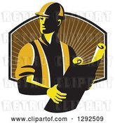 Vector Clip Art of Retro Male Construction Worker Foreman Holding Plans over a Shield of Brown Rays by Patrimonio