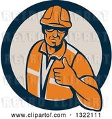 Vector Clip Art of Retro Male Construction Worker Giving a Thumb up in a Navy Blue and Tan Circle by Patrimonio