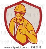 Vector Clip Art of Retro Male Construction Worker Giving a Thumb up in a Red and Taupe Shield by Patrimonio