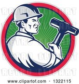 Vector Clip Art of Retro Male Construction Worker Holding a Sledgehammer in a Green Ray, Blue, Pink and Gray Circle by Patrimonio