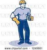 Vector Clip Art of Retro Male Construction Worker Holding a Thumb up by Patrimonio